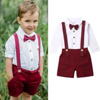 ingrosso gentleman del bimbo del bambino-Bambini Boy Uniformi Gentleman neonato appena nato Gentleman shirt Outfit Abbigliamento manica lunga Salopette 2Pcs festa di compleanno