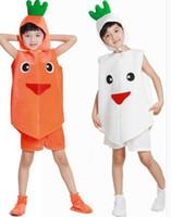 rabanete branco venda por atacado-Novo estilo do 2018 crianças cosplay Branco e Vermelho Rabanete Adequado para meninos e meninas traje de Palco estilo curto dança vestir