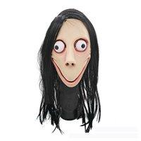 látex feminino venda por atacado-Novidade Popular Tampas De Látex Jogo Prop Simulação Mulheres Terrorista Máscara Facial Halloween Feminino Fantasma Peruca Brinquedos Atacado