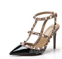 ingrosso scarpe da sposa formato 43-2018 donne di marca pompe scarpe da sposa donna tacchi alti sandalo moda nudo cinturini alla caviglia rivetti scarpe tacchi alti sexy scarpe da sposa taglia 34-43