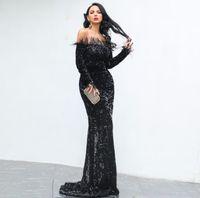 maxi elbise modern toptan satış-2019 Kadınlar Seksi Kapalı Omuz Tüy Uzun Kollu Pullu kat uzunluk Parti abiye Maxi Yansıtıcı Elbise fabrika toptan