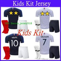 7ac51517f 2018 19 World Cup 2 Stars France Jersey Kids Kit + Socks GRIEZMANN MBAPPE  POGBA Home Blue Soccer Jersey Two Stars Football Shirt