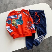 Wholesale new arrival baby outfits for sale - Group buy New arrival Kid Baby Girl boys Clothes Long Sleeve Printed T shirt Pants Tracksuit Outfit spring autumn children clothes