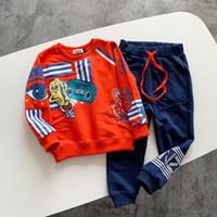 ingrosso nuovi vestiti del bambino di arrivo-T-shirt + pantaloni a maniche lunghe stampata a maniche lunghe per bambini, vestiti per bambini, vestiti per bambini autunno inverno 2019