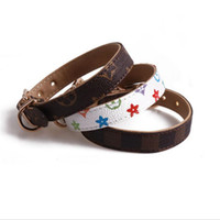 Wholesale pet dog leather collars resale online - Classic Pattern PU Leather Pets Collars Fashion Adjustable Brand Pet Dogs Cats Leashes Outdoor Personality Cute Pet Collar Accessories