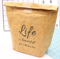 Wholesale cooler bags resale online - Tyvek Ice Pack Kraft Paper Picnic Cooler Bag Portable Lunch Bags Insulated New Design Thermal Cooler Lunch Box Picnic Bag