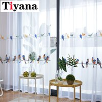 Wholesale grommet drapes resale online - Embroidered Bird Design Cotton Linen Curtains For Living Room Bedroom White Tulle Sheer Curtains Curtain Window Drapes P432X Y200421