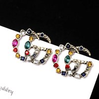Wholesale gold alphabet letters for sale - Group buy women Retro Palace style color crystal G letter Big earring
