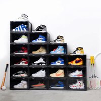 Wholesale american style shoes for sale - Group buy 2019 Trend Plastic Transparent Shoe Box Thickening Can Be Superimposed Sneakers Side Display Case Sports Shoes Organizer Storage CJ191130