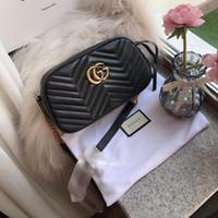 ingrosso catene di borse trapuntate-Hardware oro della catena della spalla agnello nero V delle donne borsa trapuntata Borse Flap 24CM borse in vera pelle