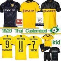 jersey thailand futbol toptan satış-Tayland BVB Borussia Dortmund futbol forması 18 19 20 Götze REUS PULISIC Witsel Jersey Francisco Alcácer futbol forması MEN çocuklar kiti setleri XXS-4XL