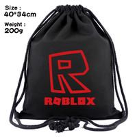 moda külotlu sırt çantası toptan satış-Toptan Roblox Kalınlaşmış tuval İpli sırt çantaları gençlik moda learing omuz okul çantası çocuk saklama torbaları 2 stilleri 40 * 34 cm