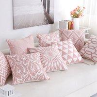 fronhas de luxo bordadas venda por atacado-Almofada bordada decorativa Covers Pillowcase Luxo Sofá Almofadas rosa decoração geométrica Car 45 * 45 centímetros 40557