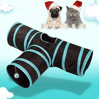 Wholesale collapsible toys for sale - Group buy T Shaped Cat Tunnel for Cat Puppy Rabbit Toy Tubes Tunnels Creative Cute Collapsible Pet Cat Tunnel Three Way Extensible BH0815 TQQ