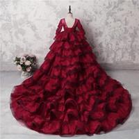 vestidos largos rojos para niños al por mayor-Mangas largas escarpadas rojo oscuro Vestido de bola Vestidos del desfile de encaje de la muchacha Grado con cuentas Vendaje hinchado Volver Formal Cumpleaños de los niños Vestidos de fiesta de baile