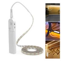 dolap dolabı açtı toptan satış-Hareket Sensörü LED Kabine Işık 1 M 2 M 3 M Altında Yatak Merdiven Dolap Lambası Bant Su Geçirmez 5 V USB LED Şerit Dolap Gece Lambası