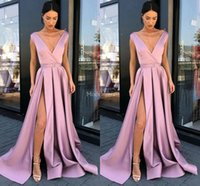 Wholesale dress gowns for sale - Group buy Sexy Evening Dresses Deep V Neck High Side Split A Line Sweep Train Pleats Special Occasion Dress Simple Formal Party Prom Gowns Hot Vestido