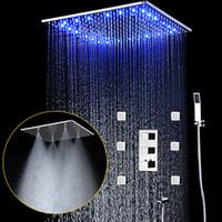 jatos de chuva venda por atacado-Chuva e neblina teto 20 '' Cabeça de chuveiro LED Shower Conjunto Torneiras Kit Shower Tap Com 6 Corpo Jet e termostática Mixer Válvula