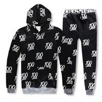 emoji trainingsanzug männer großhandel-Harajuku Hoodies Männer Frauen 3D Print Emoji 100 Trainingsanzüge Sets Sweatshirts Mit Kapuze Jogger Hosen Unisex Kleidung