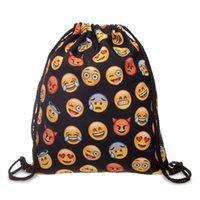 bonitos mochilas para meninas venda por atacado-20 PÇS / LOTE Mulheres Emoji Sacos de Cordão Mochila Nova Moda Menina Mochilas Bonito 3D Impressão Reutilizável Bolsa Atacado