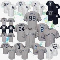 stickerei xxxl großhandel-2019 New York 2 Derek Jeter-Baseballtrikots 99 Aaron Judge 27 Giancarlo Stanton Yankees-Trikots 7 Mickey Mantle-Sticklogo