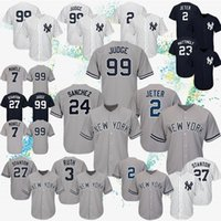 bordado xxxl al por mayor-2019 Nueva York 2 Jerseys de béisbol Derek Jeter 99 Aaron Judge 27 Jerseys Giancarlo Stanton Yankees 7 Logotipo de bordado Mickey Mantle