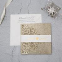 bolsos de convite venda por atacado-Cartão do convite do casamento de alta qualidade a laser de arte brilhante ouro bolso 150 * 150 mm, 100% Customzied convite cartões