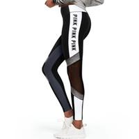 pantalones de yoga sexy al por mayor-Las mujeres del verano caliente nuevas costuras pantalones deportivos de yoga Malla Patchwork Leggings Rosa Carta Imprimir Fitness Pantalones Mujer Sexy Perspectiva Flaco