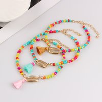 Wholesale cute anklets for women resale online - Bohemia Colorful Beads Shell Anklet for Women Cute Tassel Leg Ankle Chain Bracelet For Women Beach Foot Jewelry