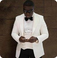 mens piece fildişi kıyafeti toptan satış-Klasik Tasarım 2 Parça Siyah Erkek Düğün Takım Elbise Slim Fit Damat Smokin Fildişi Doruğa Yaka Yakışıklı En İyi Adam Blazers ceketler (Ceket + Pantolon)