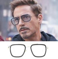 demir güneşi toptan satış-Erkekler Vintage Steampunk Güneş Gözlüğü Marka Tasarımcısı Tony Stark Demir Adam Gözlük Retro Rüzgar Geçirmez Stea Punk Güneş Gözlükleri Gafas ulculos 13 renkler