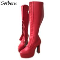 ingrosso scarponi di tacco-Chiusura lampo Zip da donna rossa 12cm Tacco a spillo Block Heel Hidden Lace Knee Hi Sexy Fetish Boots Ladies New Custom Colors