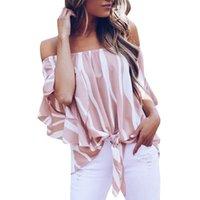 arcos para mulheres de verão para mulheres venda por atacado-Roupas de verão mulheres Chiffon Blusa Listrada Vertical Fora Do Ombro Alargamento manga Curta Bow Tie tops das mulheres boêmio Casual camisa de Praia solta