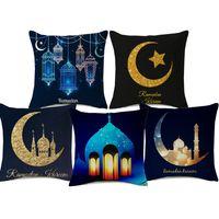 ingrosso decorazioni blu lanterne-Ramadan Kareem Castle Gold Moon Blue Lantern Cushion Covers Beige Federa in lino 45X45cm Divano Sedia Sedile Decorazione