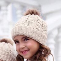 Wholesale baby boy winter cap designs resale online - Baby Kids Winter Hat colors ball design infant kids girl boy caps winter Protecting Ear Knitted Hat Free Ship