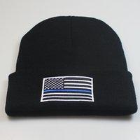 gorras americanas para mujeres al por mayor-Bandera de EE. UU. Punto Beanie Hat Azul Bordado Bandera Americana Invierno Cálido Sombrero Gorra Deportiva Para Hombres Mujeres Al Por Mayor
