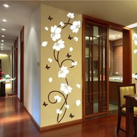 Wholesale decorating wall stickers for sale - Group buy Vinyl Wall Sticker Vine Tree Flower Bedroom Art Decorate Mural Fridge Sticker Butterfly Decal for Living Room Home Decor