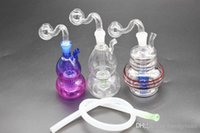 Wholesale small hose resale online - colorful Mini oil rig Bong Thick Heady Glass oil burner pipe mm female small water smoking pipe with silicone hose mouth drop tip