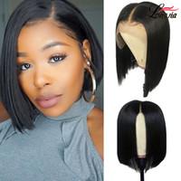 peruk bob rengi toptan satış-Düz Bob peruk Kısa Dantel Ön İnsan Saç Peruk Siyah Kadınlar Için 8-14 inç Hint Düz İnsan saç peruk hairline ile Doğa renk