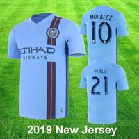 villa soccer al por mayor-New York City FC 2019 camiseta de fútbol azul casero Jersey nycfc MLS PIRLO MORALEZ LAMPARD DAVID VILLA MEDINA MCNAMARA Fútbol 2XLTop Calidad