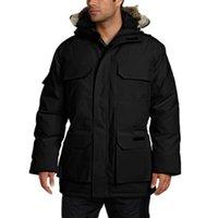 free down parkas al por mayor-Canadá invierno para hombre LIBRE de DHL de abrigo abrigos de lujo chaqueta del diseñador de Down Parka Prendas de vestir exteriores encapuchada de la piel grande de Canadá hacia abajo chaqueta de la capa del tamaño XS-XXL