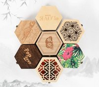 Wholesale chinese wooden carvings resale online - Small hexagonal Wooden Jewelry Storage Box Necklace Earring Cosmetics Case Container Gift Box
