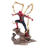 base de ação venda por atacado-Marvel Homem-Aranha Vingadores 3 Infinito Guerra Homem-Aranha De Ferro PVC Action Figure Com Base Coleção Modelo Boneca Brinquedos de Presente