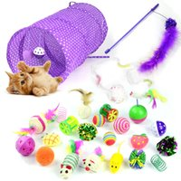 Wholesale collapsible toys for sale - Group buy Cat Toy Set Pet Kit Collapsible Tunnel Cat toy Fun Bell Feather Mice Shape Pet Kitten Dog Cat Interactive Play Supplies T200229