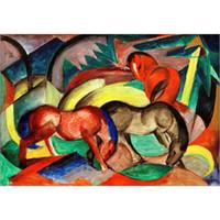 ingrosso tre pattini a cavallo-Quadro moderno dipinto a mano da Franz Marc Three Horses fatto a mano arredamento per la casa