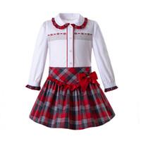 kızlar için vintage bebek kıyafeti toptan satış-Pettigirl Sonbahar Bebek Kız Giyim Seti Tek göğüslü Kırmızı Izgara Etekler Vintage Çocuk Giysi Tasarımcısı Kızlar Ile Tops G-DMCS108-C80