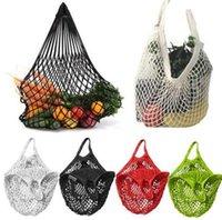 рыночная мода оптовых-Многоразовые ажурные сумки для покупок Фруктовая нить Покупатель Tote Сетка Чистая тканая хлопчатобумажная ручка сумки на ремне Fashion Market Bag