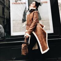 abrigo de lana de piel sintética mangas al por mayor-Chaqueta de lana irregular de las mujeres y la chaqueta de cuero de invierno de las mujeres de cuello alto de manga larga Faux Abrigo casual