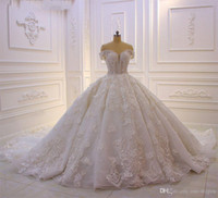 Wholesale white sparkly princess wedding dresses for sale - Group buy Sparkly Beaded Off Shoulder Ball Gown Wedding Dress Luxury D Flowers Lace Appliqued Princess Vintage Arabic Bridal Gown