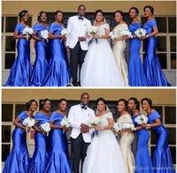 vestidos de dama de honor reales nigerianos al por mayor-Vestidos de dama de honor de sirena de hombro azul real nigeriano de talla grande vestidos de dama de honor con pliegues largos Vestidos de invitados de boda